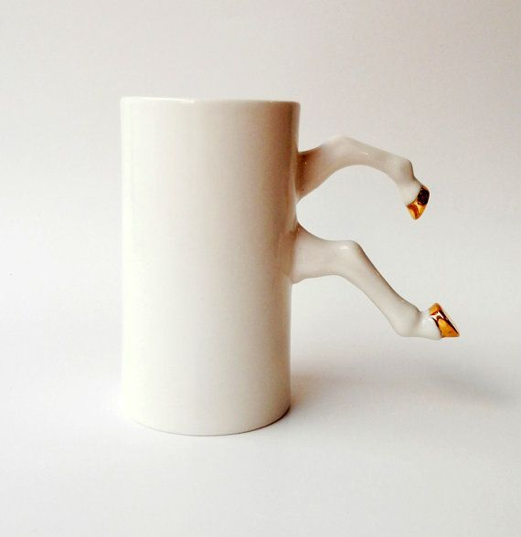 White Ceramic Mug with Gold Hooves, Porcelain, White Pottery, Modern Ceramic Design by Barceramics, Ceramics and Pottery