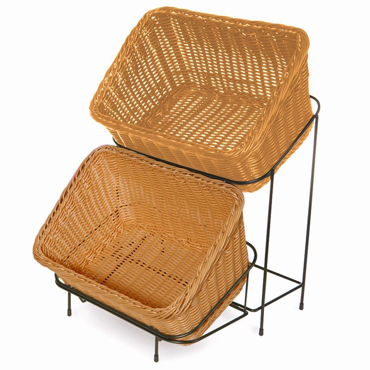 "Honey-Colored Polypropylene 9 1/4"" x 13"" Basket with Black Metal Rack"