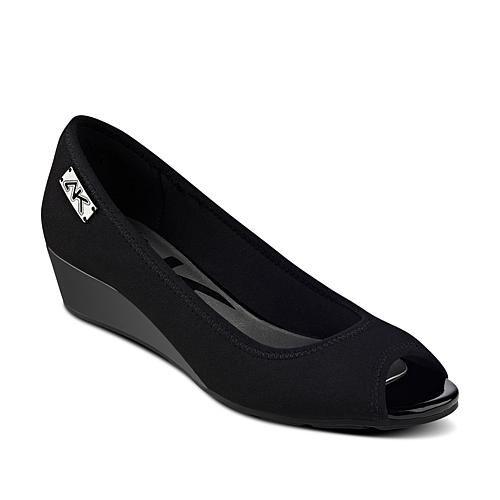 Anne Klein Sport Pelonia Wedge Sandal - Black