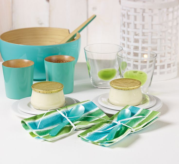 Paper + Design - modern blue / green striped premium paper napkins from Germany