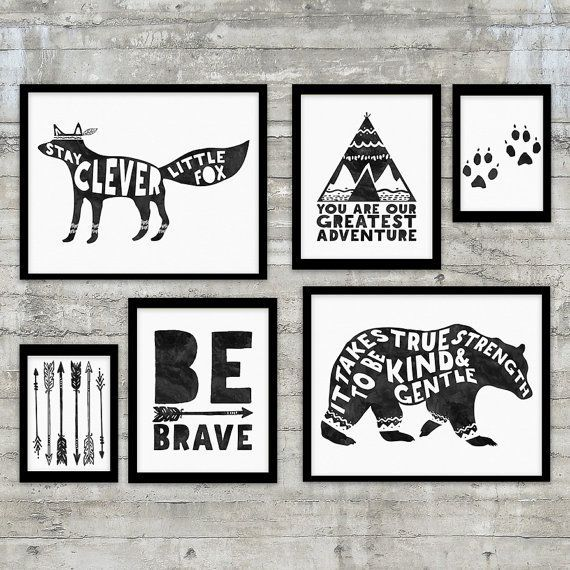 "Black and White Prints Monochrome ""Stay Clever Little Fox"" Wall Art…"