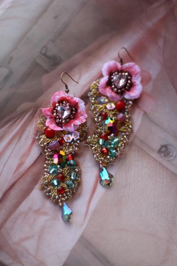 Dusky Pink Floral Ornate Earrings