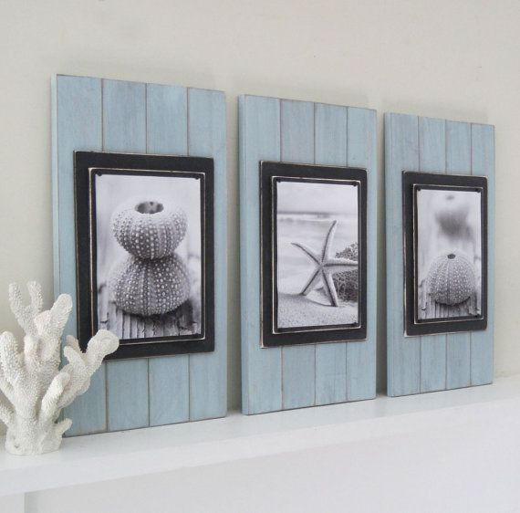 Set Of 3 Long And Large 14x24 Plank Frames For 8x10 In Seafoam And Black Rustic Beach Decorcoastal