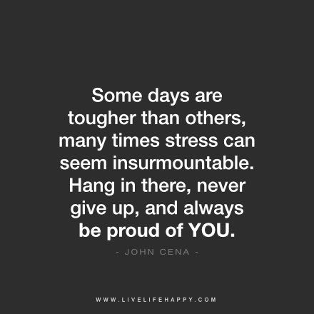 Some days are tougher than others, many times stress can seem insurmountable. Hang in there, never give up, and always be proud of YOU. – John Cena FacebookPinterestTwitterMore