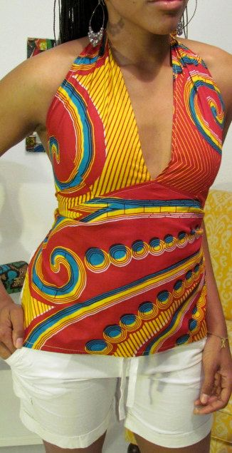 I have an entire suit made from this fabric!! African Print Halter Neck Top by ifenkili on Etsy, $25.00