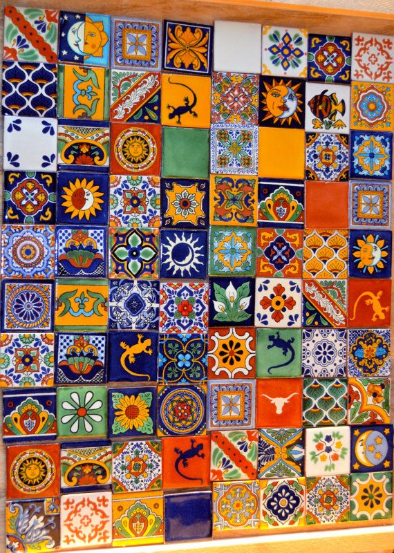 100 Mexican Talavera Tiles handmade Hand painted 2 by MexicanTiles, $95.00