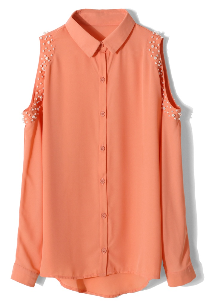 Pearly Cut Out Shoulder Shirt in Orange