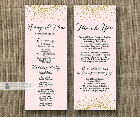 blush pink gold glitter wedding program double sided 4x10 modern bold gold and black 2 sided front and back diy printable remy