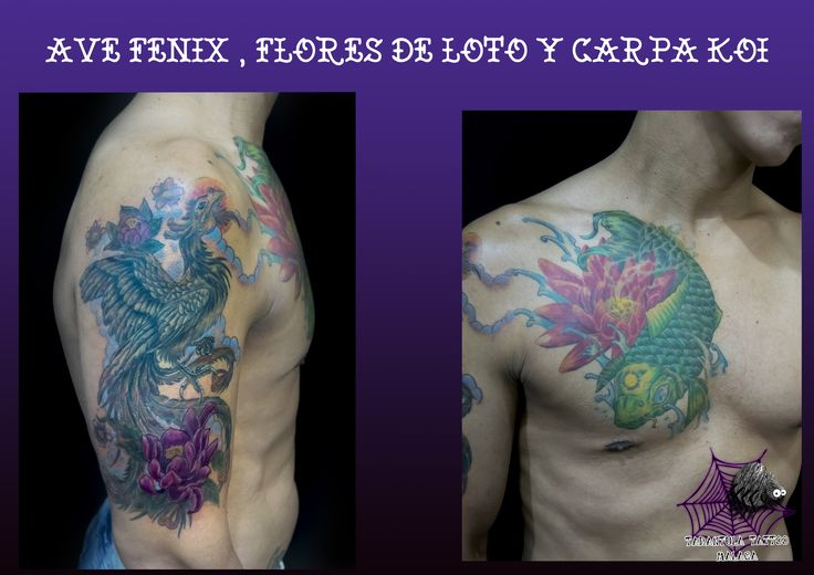 Tatuaje oriental tatuada desde el pecho hasta el brazo derecho a todo color, con una carpa koi, ave fénix y flores orientales #tattoo #tatuaje #ink #imkmaster #mastertattoo #tattoartist #artista #arte #carpa #koi #loto #flores #flowers #avefénix #colors #fullcolor @iciarorozco #costadelsol #tatuajesmalaga #malagatattoo #España