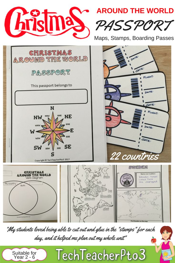 Take your students on an adventure with this handy Christmas around the world passport. Inside this pack you will find 22 stamps for each country visited, a map to locate the country, a Venn Diagram and a world map. You'll also find some cute boarding passes to complete the experience. Perfect for early to primary teachers.
