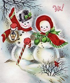Vintage Christmas Snowman Couple More
