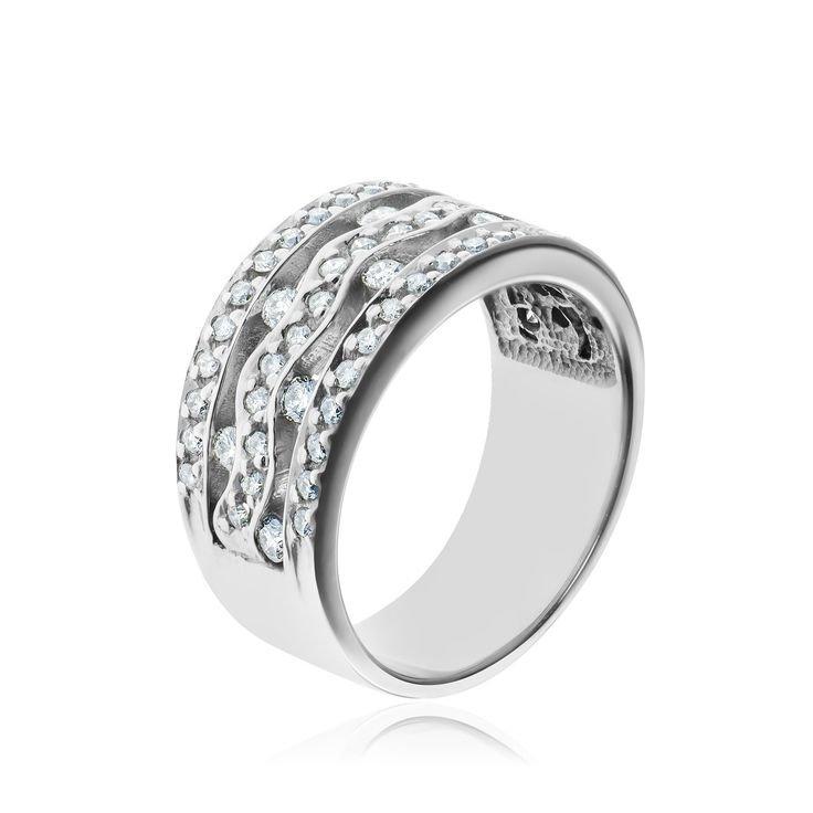 14kt white gold and diamond ring.