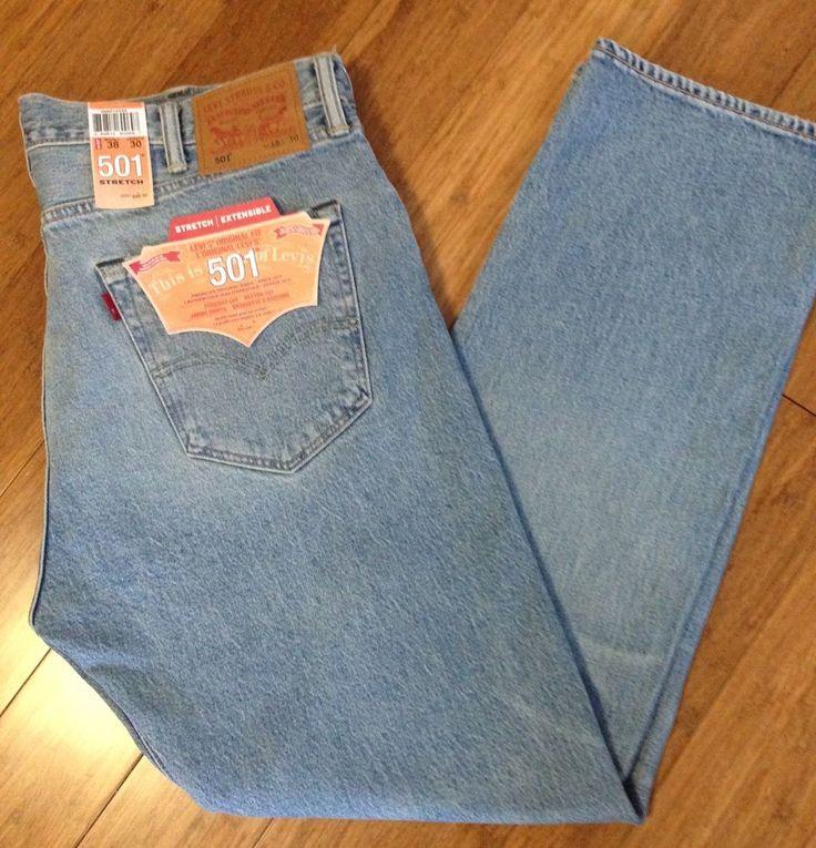 Men Levis Jeans 501 Stretch Button-Fly Straight Leg Size 38x30 Light Wash $59.50    eBay