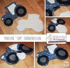 Traktor Tom (Nähanleitung und Schnittmuster, samt Plotterdatei und Stickdatei von shesmile) (Diy Pillows Embroidery)