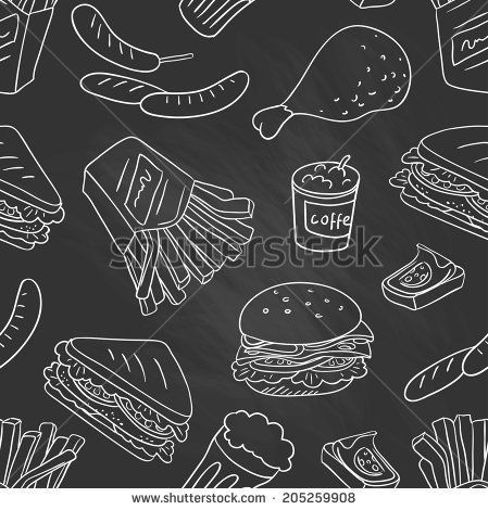 Chalkboard - Fastfood delicious hand drawn vector seamless pattern with burger, hot dog and french fries - stock vector