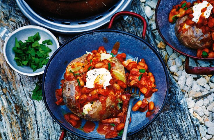 A gorgeous Bonfire Night recipe - jacket potato with paprika & cumin-spiced beans. A warming dish from Tesco Real Food, ideal for a Bonfire Night party.