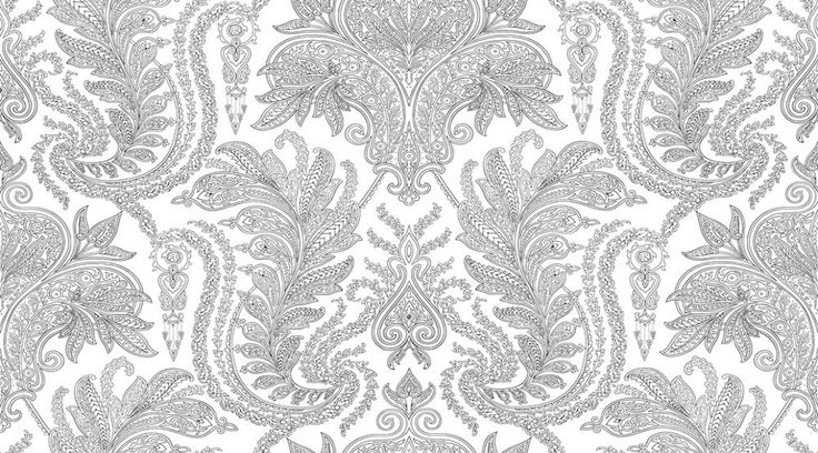 Raheem (AR200665) - Albany Wallpapers - A pretty floral symmetrical damask design in striking black on white. Wide width.  Please request sample for true colour match and texture. Pre pasted.