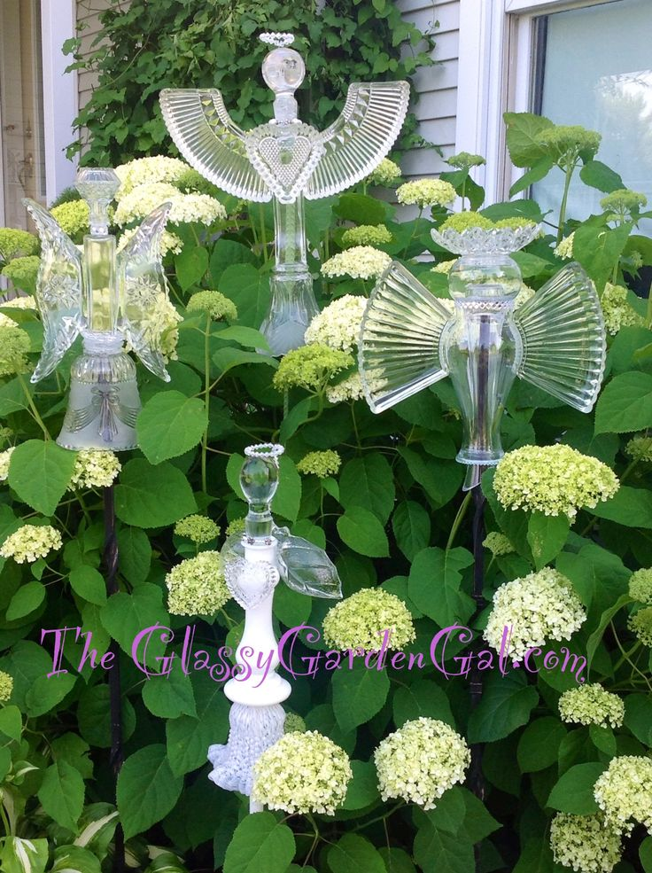 Garden Angel Totems with hearts halos & wings
