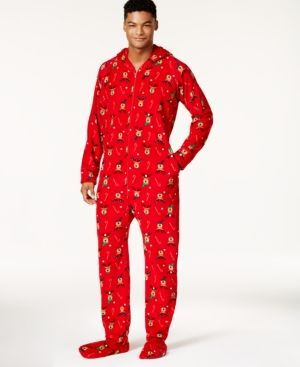 Family Pajamas Men's Holiday Reindeer Footed Pajamas, Created for Macy's - Red XXL
