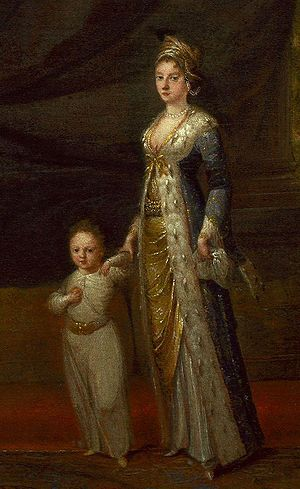 "Lady Mary Wortley Montague and son (detail) 1717, by Jean-Baptiste van Moor. Lady Mary was instrumental in the popularization and the interest in the ways of the Orient. In 1716 when Edward Wortley Montagu was appointed Ambassador to Constantinopole his wife Mary went withy him. The story of their voyage and her observations of life in the city was described in her letters which were published as ""Letters from Turkey""."