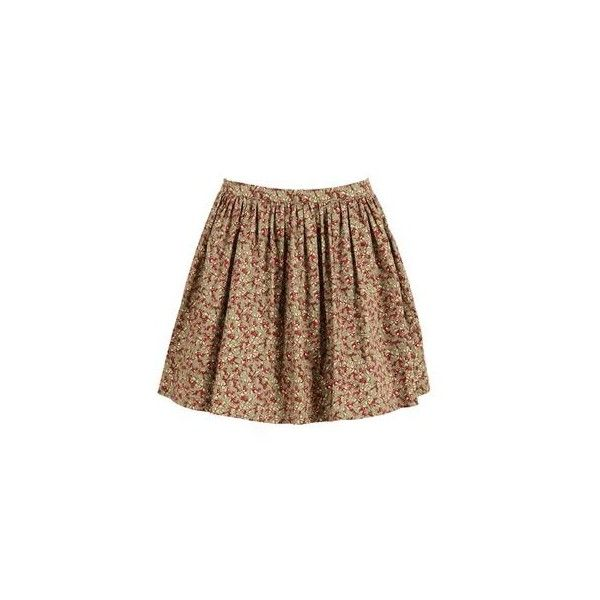 Huntington and Co Penny Floral Skirt (15.755 CLP) ❤ liked on Polyvore featuring skirts, bottoms, saias, faldas, flower print skirt, floral knee length skirt, brown skirt, floral skirts and floral printed skirt