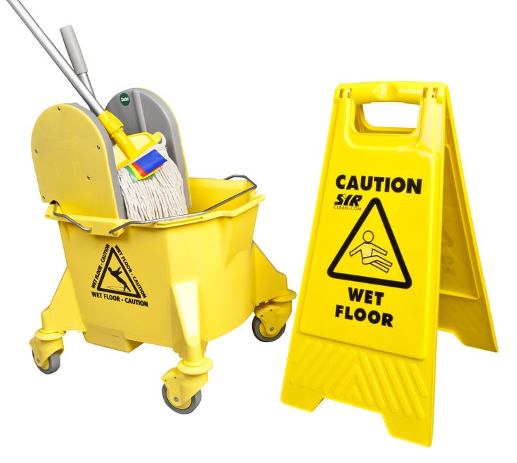 """The Kentucky Cleaning Range is an ergonomic and robust wringer with one-piece polypropylene with mobile bucket with 23 litre capacity, dirt-retaining sump, steel handles and 3"""" castors. Mop holder, 12oz mop head and warning 'A' board are also availible for a complete mopping system."""