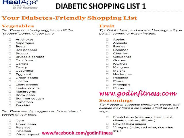 Diabetic Diet List Diabetic Shopping List...