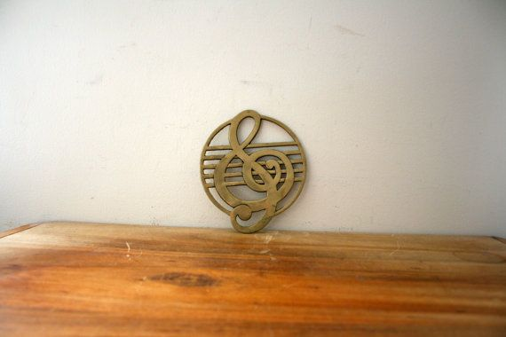 vintage 1970s Brass Treble Clef Music Lovers Kitchen Hot Plate Trivet