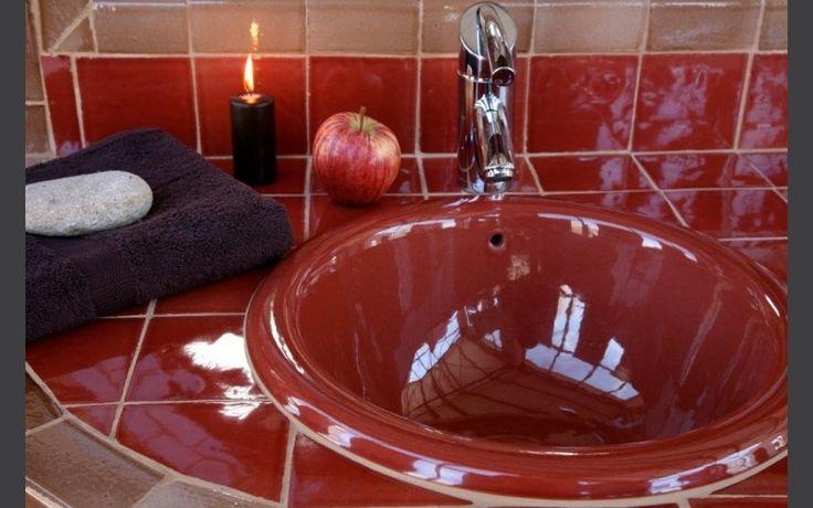 Vasque à encastrer Ondine vieux rose diamètre 40 x h.19 cm