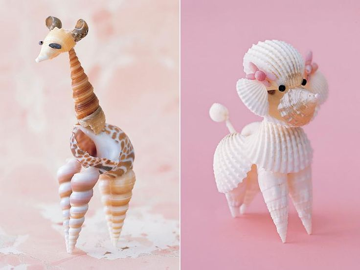 Seashell Poodle. Seashells  + glue, modeling clay, beads, and a paintbrush. Stewart suggests using bivalve shells for bodies and heads, and turning skinny augers into legs and arms.