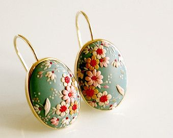 SAKURA. One of a kind handmade earrings on gold plated 92.5 sterling silver setting.
