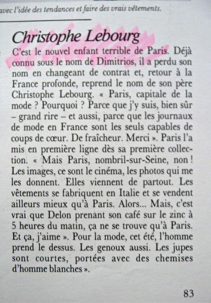 CHRISTOPHE LEBOURG ET PARIS