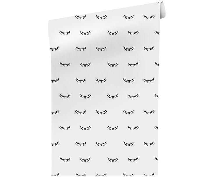 Verleihen Sie Ihren Wänden einen trendy Look. Die Tapete Eyelashes mit Wimpern-Motiven in Schwarz und Weiß und weitere ausgefallene Tapeten auf >> WestwingNow. Fleece-Tapete in Schwarz und Weiß
