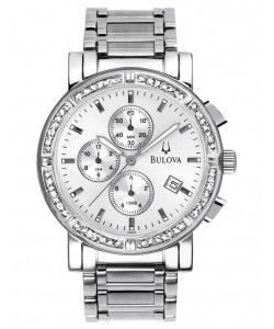 BULOVA Diamond Chronograph Silver Dial Stainless Steel (96E03)