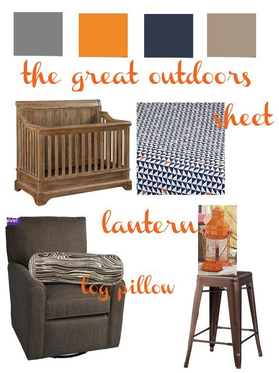 {The Great Outdoors} Nursery mood board featuring gray, orange, navy, and brown