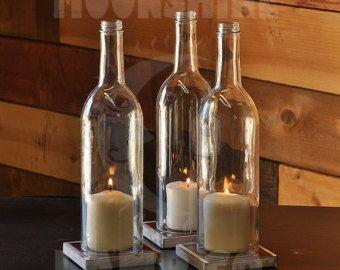 Carrés d'huile d'Olive bouteille bougie titulaire par MoonshineLamp