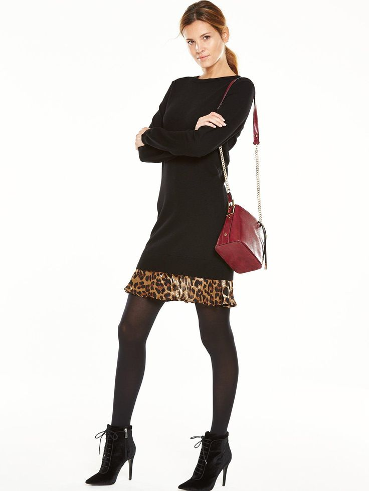 V by Very Animal Print 2-in-1 Knitted Dress - Black V by Very responds to the change in weather with this 2-in-1 knitted dress. With long sleeves, a rounded neckline and thigh-grazing length, this is the very definition of winter chic. A contrast hem lends a statement finish, answering to the call of the catwalks with a fierce pop of leopard print.  Styling Ideas  Pair with tights and ankle boots to polish your autumn/winter look.Womens Neckline: CrewWomens Sleeve Length: Long Sleeve