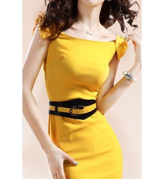 Elegant Yellow Polyester Sheath Mini Fashion Style Day To Night Dress
