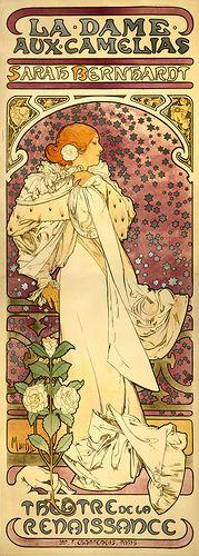 Sarah Bernhardt, la dame aux camélias, poster by Alfons Mucha, 1896 by trialsanderrors, via Flickr