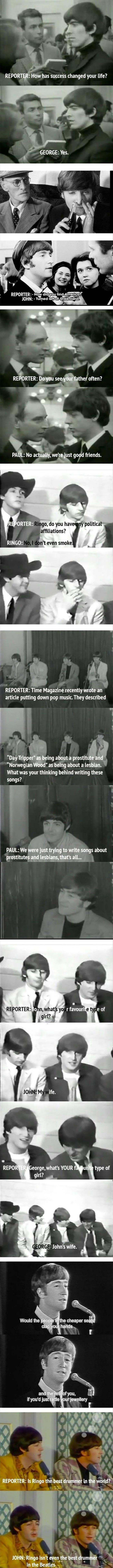 The Beatles Were Masters At Answering Interview Questions 20 Pics.... They were probably high for a bunch of these..... XP