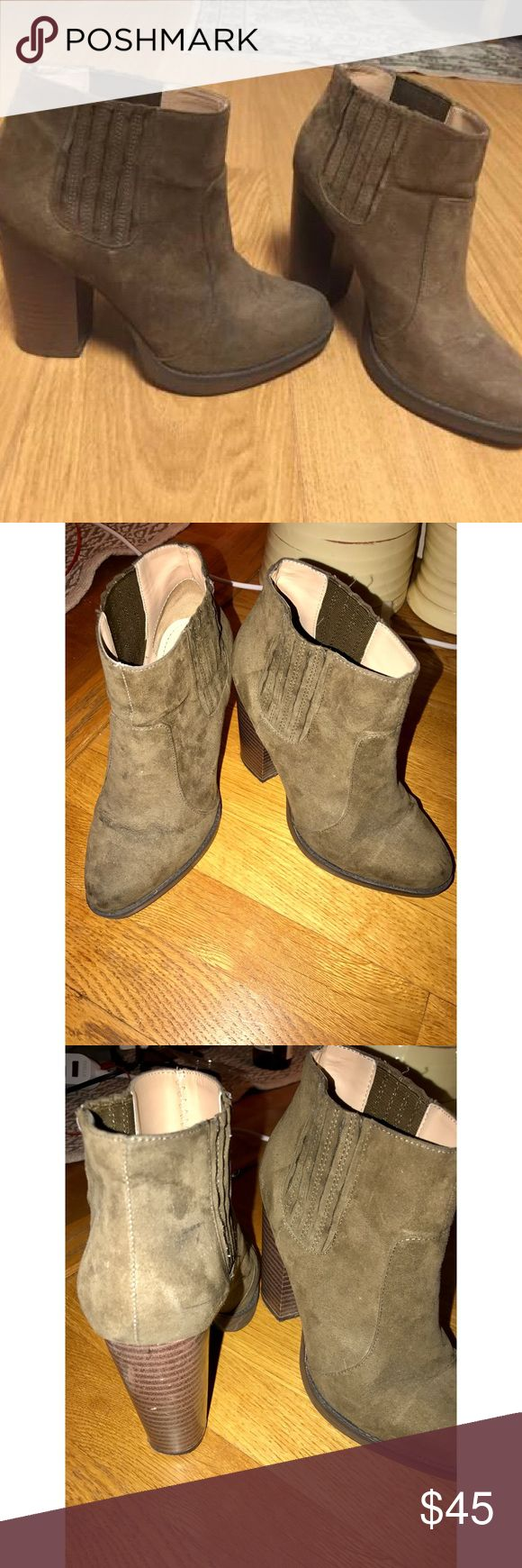 Zara olive heeled booties size 8 In Great Condition. Barely Worn Suede, Heeled Ara Booties, Great To Wear To Work Or Out For Date Night. Look Great With Jeans, Dresses, Skirts! SIZE 39 US SIZE 8 (based off of Zara's sizing on website) Zara Shoes Ankle Boots & Booties