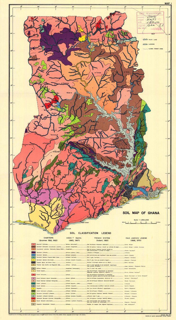 Ghana soil map, 1971 #map #soils #ghana
