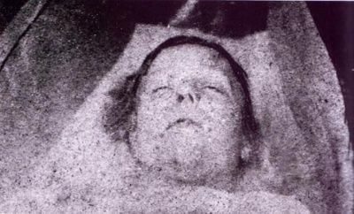 Jack the Ripper's first victim, Mary Ann 'Polly' Nichols. Her Life & Death: http://www.casebook.org/victims/polly.html IMAGE: Mortuary photograph of Mary Ann Nichols.