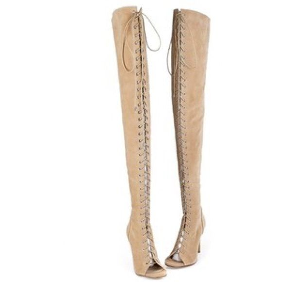 Camel Lace-up Over Knee Suede Boots With Peep-toe These Camel Lace-up Over Knee Suede Boots With Peep-toe are so fashionable that they are sold out everywhere! Get your hands on them today! Brand new in box! Never worn before! Choies Shoes Over the Knee Boots