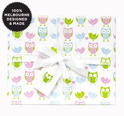 Hoot Hoot Pastel wrapping paper, 10m roll, made in Australia, currently AU$14.95 + postage from InkyCo (AU) #giftwrap #wrappingpaper