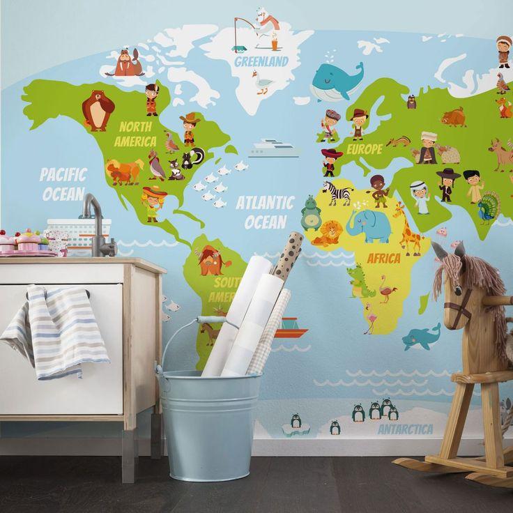 Unique Fototapete Lustige Kinder Weltkarte