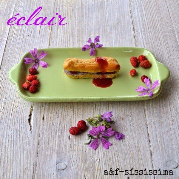 acqua e farina-sississima: eclair all'olio extravergine di oliva e limone con crema di patate blu