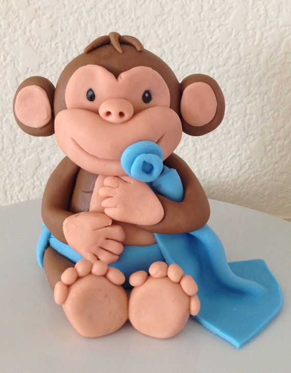 Baby monkey fondant cake topper, baby shower, birthday, edible