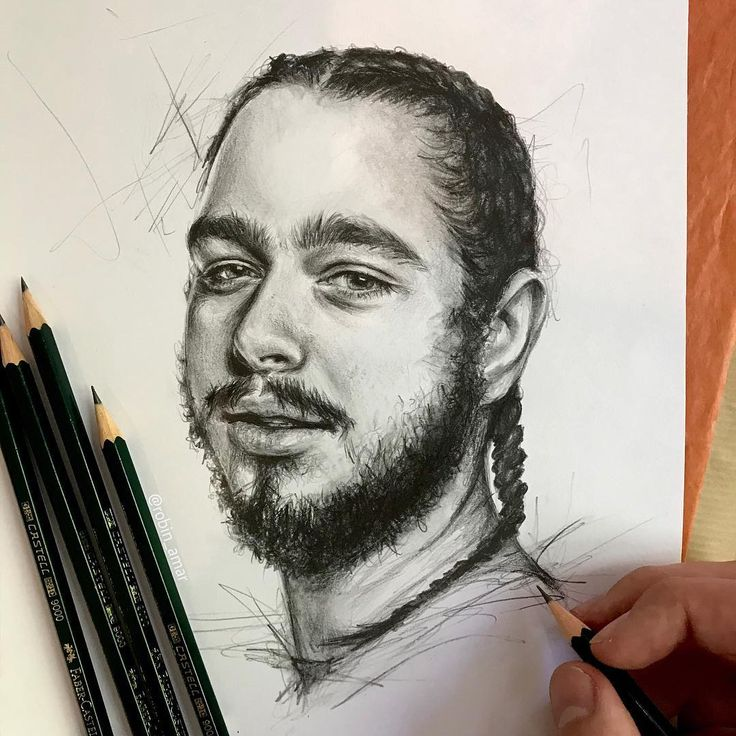 Post Malone Drawing: #Portrait Of Post Malone By #artist Robin Amar From