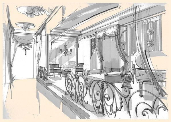 sketches of interiors on Behance